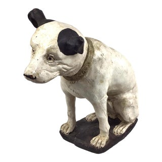 1930s Vintage Hand Carved Wood Rca Nipper Dog Figurine For Sale