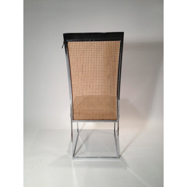 Mid Century Modern S/ 8 Milo Baughman Newly Upholstered Chrome & Cane Back Dining Chairs - Image 10 of 10