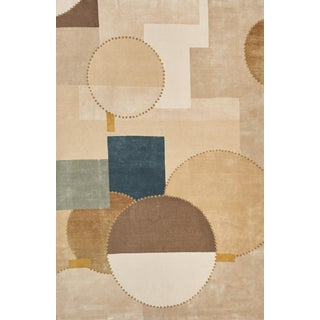 Schumacher Patterson Flynn Martin Cotton Club Hand-Knotted Wool Silk Geometric Rug - 6' X 9' For Sale