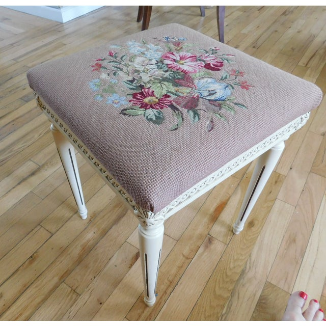 Vintage Petit Point Floral Bench/Table For Sale - Image 13 of 13