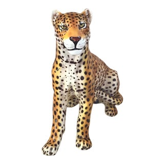 Handmade Life Size Ceramic Italian Seated Leopard Statute For Sale