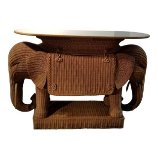 1980's Mario Torres Style Wicker Elephant Bar For Sale