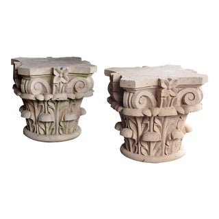 A large and dramatic pair of Mexican hand-carved cantera stone Corinthian capitals For Sale