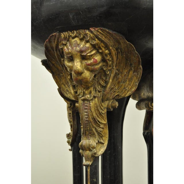 Neoclassical Vintage Tessellated Stone Lion Head Pedestal Bird Bath For Sale - Image 3 of 13