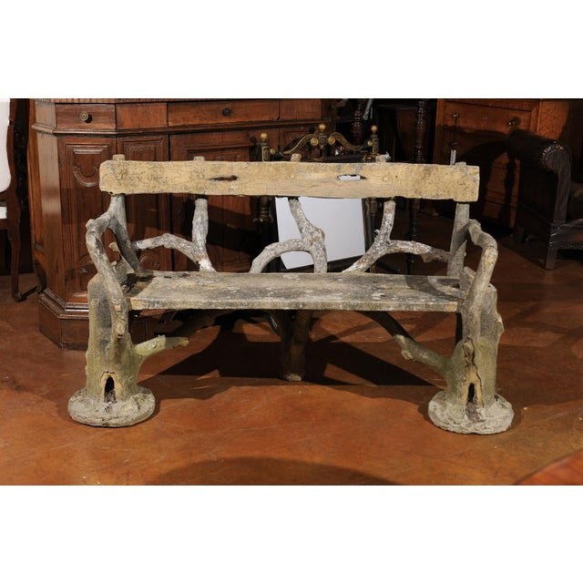 French Late 19th Century Faux-Bois Concrete Bench with Vases Flanking the Sides For Sale - Image 9 of 13