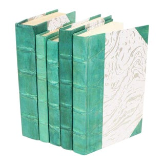 Parchment Collection Teal Books - Set of 5 For Sale
