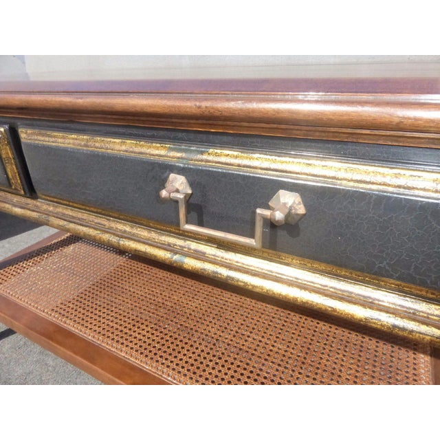 Hollywood Regency Black & Gold Crackle Finish Library Console Table For Sale - Image 10 of 11