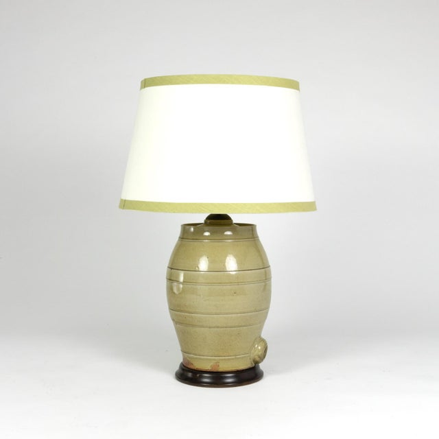 Pale Green Glazed Spirit Barrel, English Circa 1880 Mounted and Wired as a Table Lamp With Linen Shade For Sale - Image 9 of 13