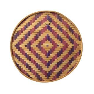 Late 20th Century Wicker Geometric Diamond Pattern Basket