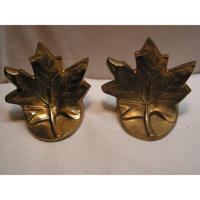 Vintage Brass Maple Leaf Bookends - A Pair For Sale - Image 4 of 5
