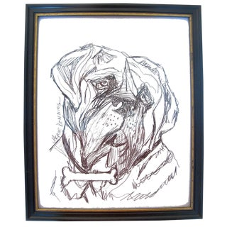 Framed Pen & Ink Dog Portrait by J. Denning For Sale