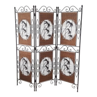 Late 20th Century Wrought Iron Woven Rattan Palms and Elephant Design Room Divider For Sale