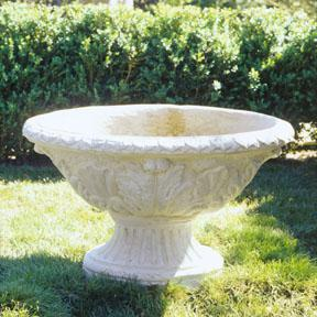 Modern Oval Acanthus Urn Planter in Limestone For Sale - Image 3 of 4