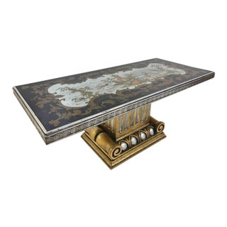 Italian Chinoiserie Mirrored Top Coffee Table For Sale