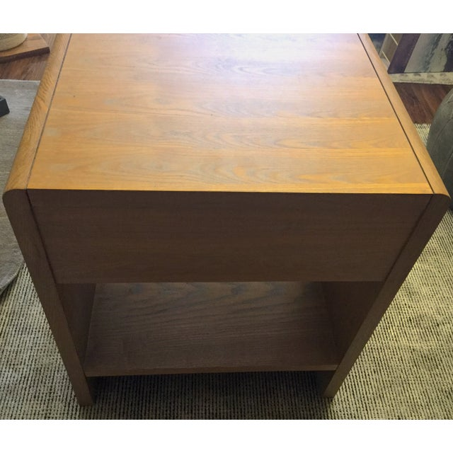Limed Oak & White Lacquer Nightstand For Sale - Image 5 of 7