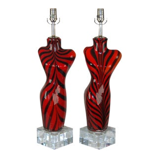 Venus Murano Striped Glass Table Lamps Red Black For Sale