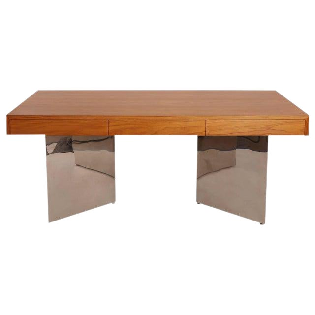 1970s Vintage Pace Teak and Polished Steel Desk For Sale