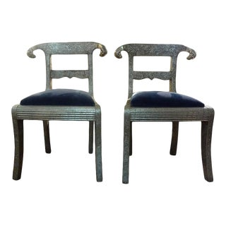 Vintage Anglo-Indian Silver Clad Dowry Wedding Chairs With Rams Heads-A Pair For Sale