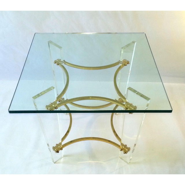 This item consists of a drop-dead gorgeous Mid Century (1970's) glamorous lucite and brass, with a square glass top,...
