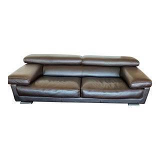 Roche Bobois Brown Leather Modern Sofa For Sale