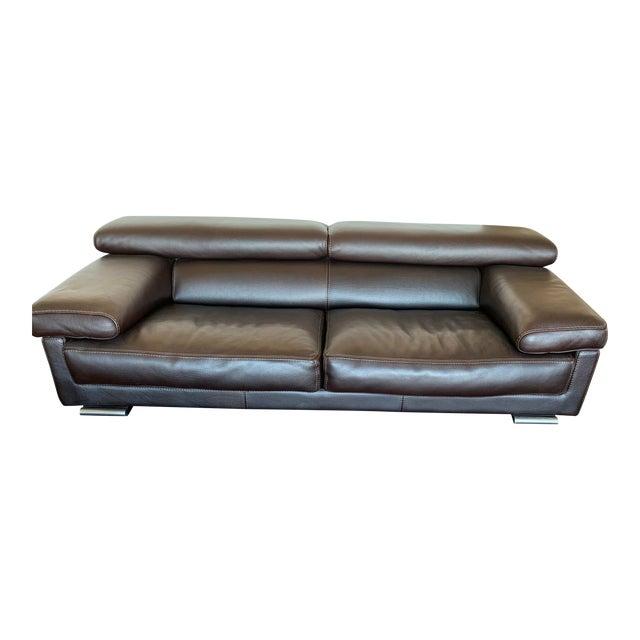 Roche Bobois Brown Leather Modern Sofa For Sale