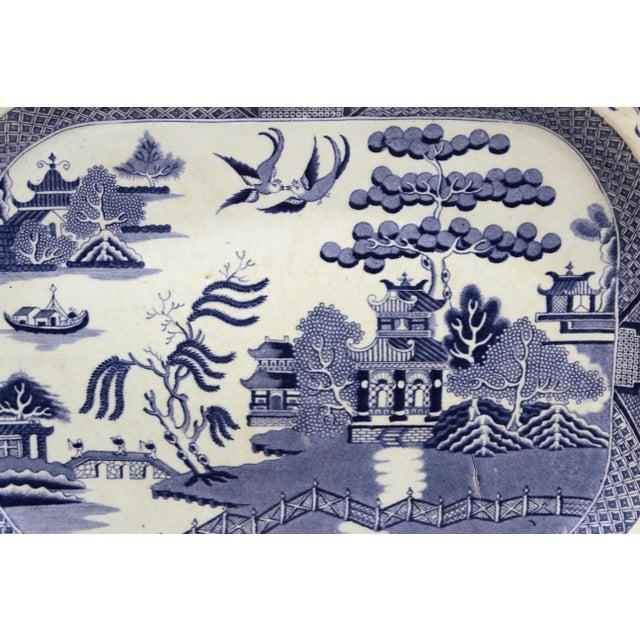 Antique Staffordshire Blue Willow Platter Large Server Platter For Sale - Image 4 of 11