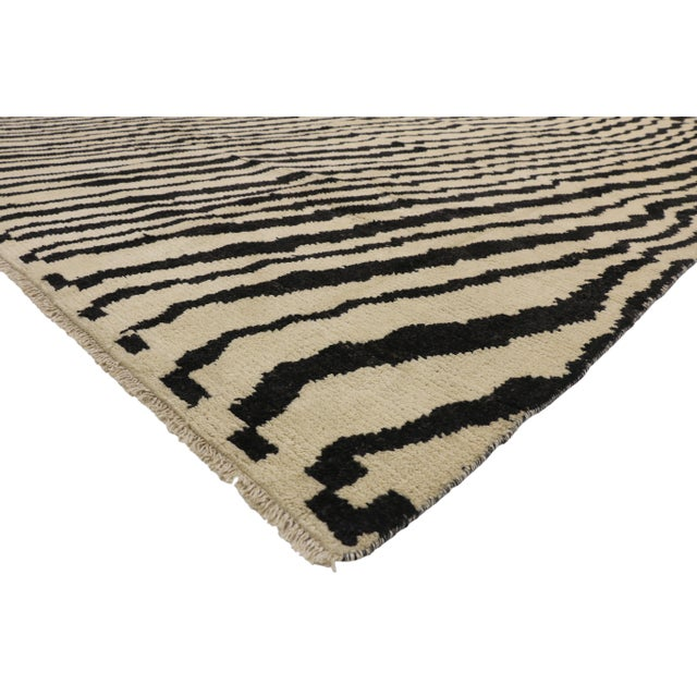 New Contemporary Moroccan Area Rug with Abstract Expressionism Style 10'03 x 13'10. With bold art form, elements of...
