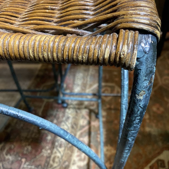 Vintage Wicker & Iron Bar Stools - Set of 3 For Sale - Image 11 of 12