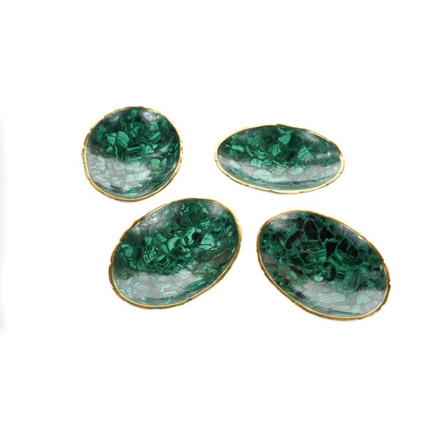 Contemporary Natural Malachite & Bronze Nut Bowls - Set of 13 For Sale - Image 3 of 9