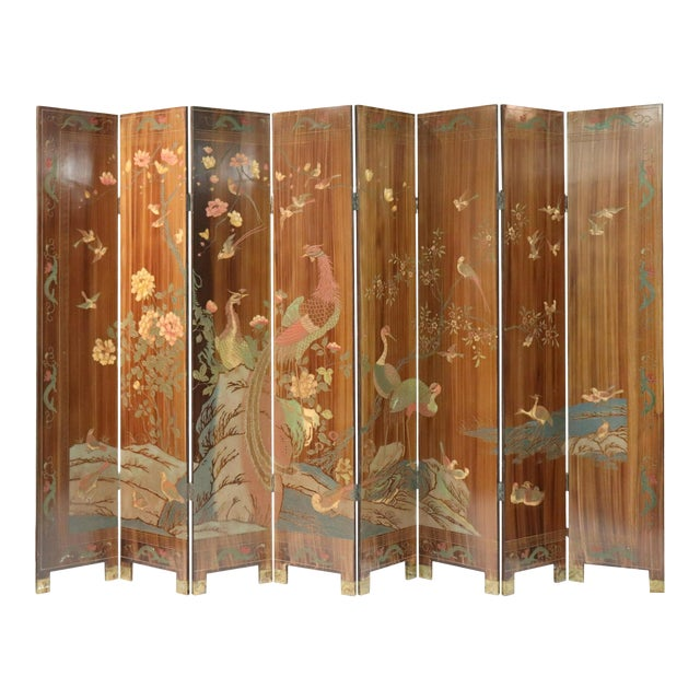 Large Caramel Hand Painted Chinoiserie Screen For Sale