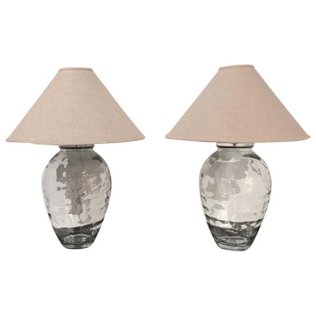 Mid-Century Spanish Clear Glass Lamps - A Pair - Image 1 of 10