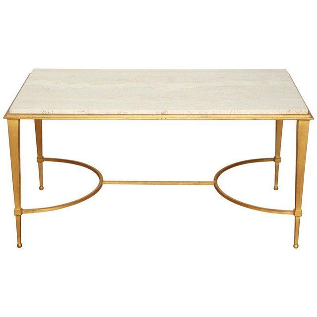 French Midcentury Gilt Iron Coffee Table With Travertine Top by Masion Ramsay For Sale In New York - Image 6 of 6