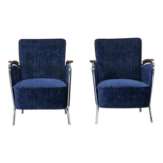Pair Bauhaus Steel and Wood Club Chairs