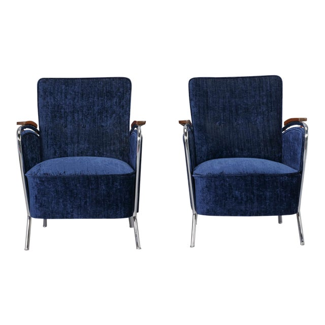 Pair Bauhaus Steel and Wood Club Chairs For Sale