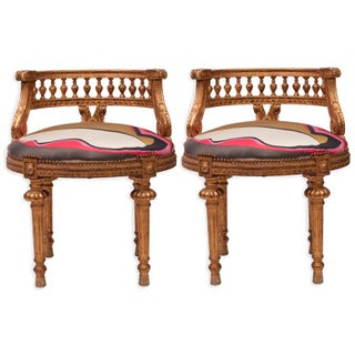 Gilded French Empire Stools in Silk - a Pair For Sale