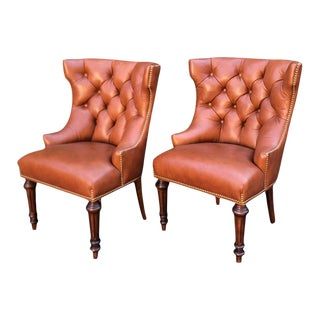 Pair of Michael Smith Tufted Leather Wingback Chairs For Sale