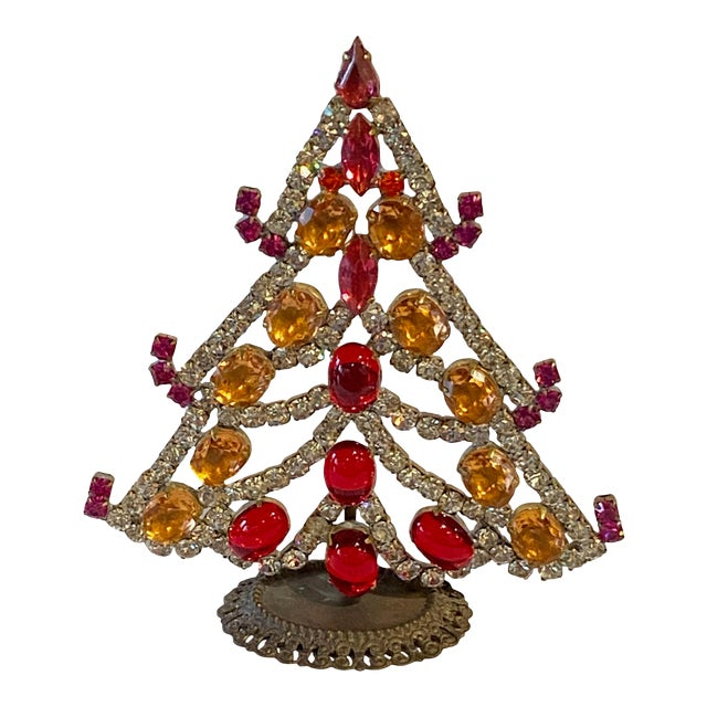 Red, Silver and Gold Czech Rhinestone Christmas Tree For Sale