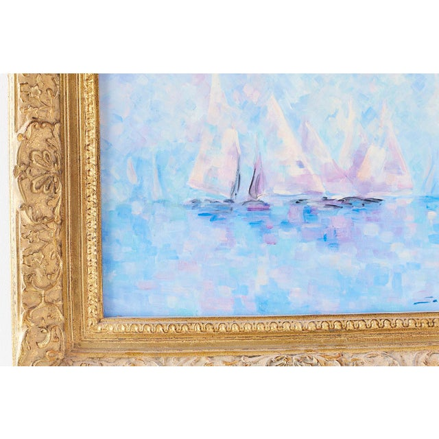 1970s Midcentury Oil on Canvas Painting of Sailboats For Sale - Image 5 of 13