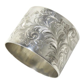 Antique Birmingham England Sterling Silver Napkin Ring For Sale