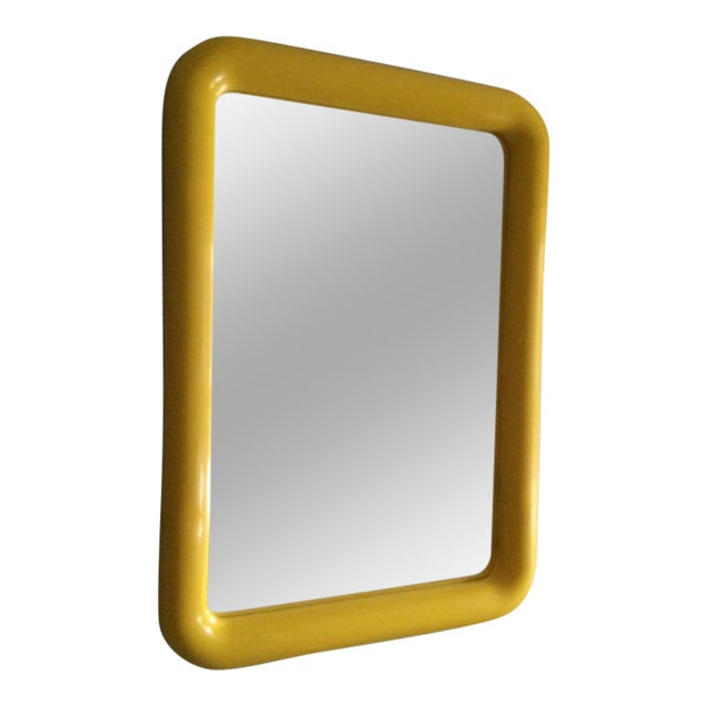 Mid Century Yellow Plastic Space Age Mirror - Image 1 of 6