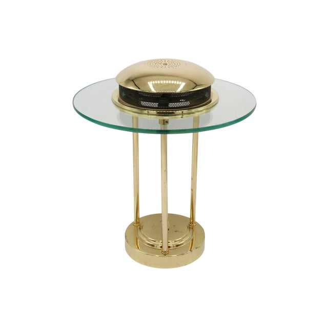 1970s Italian Mid Century Polished Brass and Glass Table Lamp With a Dimmer Switch For Sale