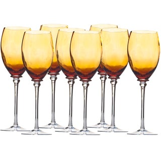 Hand Blown Amber White Wine Glasses - Set of 8 For Sale