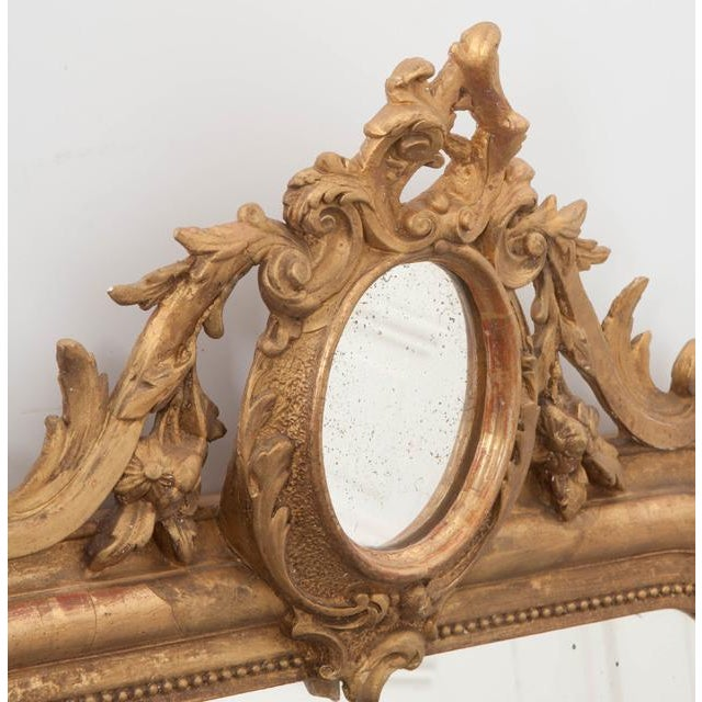 French 19th Century Ornately Carved Giltwood Over-Mantle Mirror For Sale - Image 12 of 13
