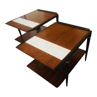 Mid-Century Modern Lane End Tables With Tile Insets - a Pair For Sale