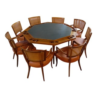 MCM Craftsmen's Village Furniture Co Walnut Poker Table With 8 Chairs For Sale