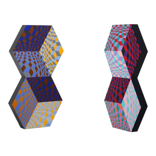 Victor Vasarely, Kettes, 1988 For Sale