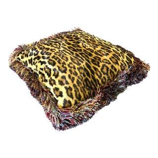 Dransfield & Ross N.Y. Silk Velvet Leopard Fringe Passementerie Pillow For Sale