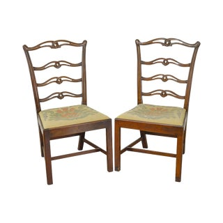 Chippendale Style Antique Pair of Ribbon Ladder Back Side Chairs