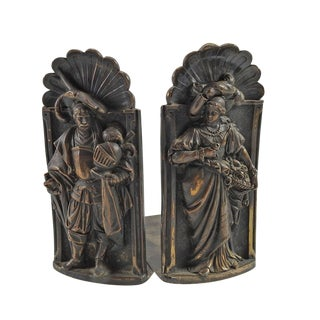 English Royal Court Couple Bookends - Pair For Sale