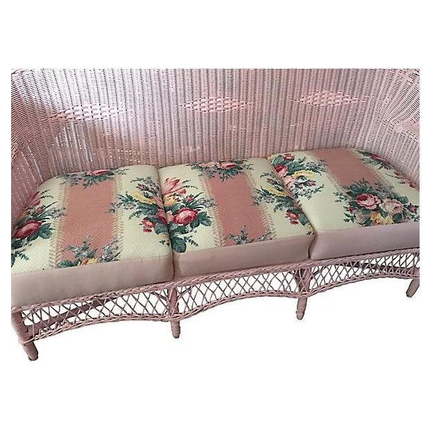 Vintage Pink Wicker Barkcloth Settee Sofa - Image 4 of 8